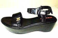 $680 PRADA Black Italian Leather Platform Sandals EUR 37 US 6.5