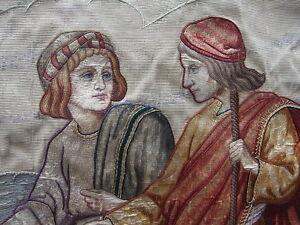 Antikes Religiöses Stickbild Gobelin Hirte ~ 2 Pilger auf dem Jakobsweg Gold Fad
