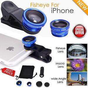 Detalles de Nuevo 3 en 1 Lente Ojo de Pez Gran Angular Macro Lente Zoom  Clip en cámara para iPhone 6- ver título original