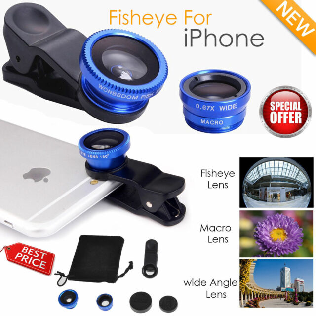 new arrivals 5fef6 5e944 3 in 1 Fisheye Lens Wide Angle Macro Clip on Camera Lens Zoom for iPhone 6