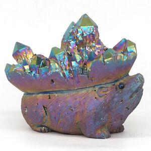 4-9-034-Hedgehog-Plating-Natural-Clear-Quartz-Cluster-Geode-Crystal-Carved-Figurine