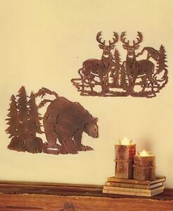 WALL-ART-DEER-BEAR-or-MOOSE-LODGE-CAMP-METAL-ART