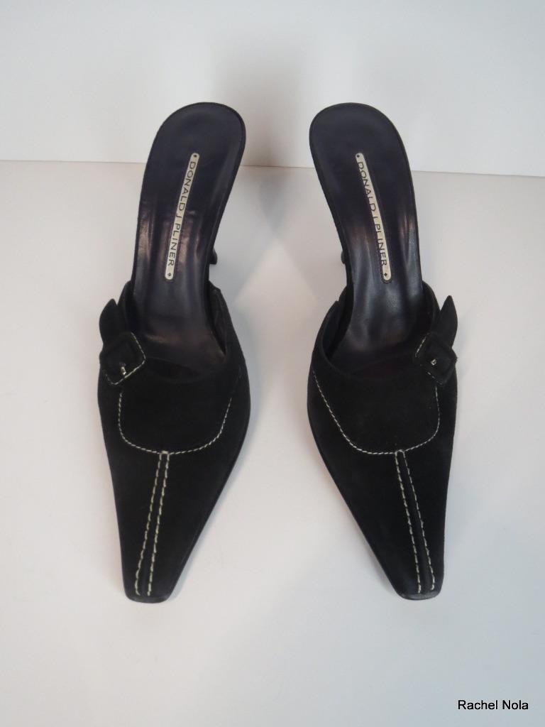 Donald Pliner Slides Heels Heels Heels Mules Size 6.5 Black Suede Kitten Pointy Toe Buckle d80390