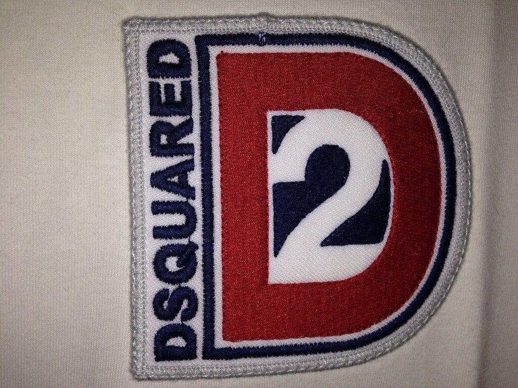 DSQUARED2 DEAN DAN TWINS XL maglietta in cotone bianca con dettagli blu e rossi