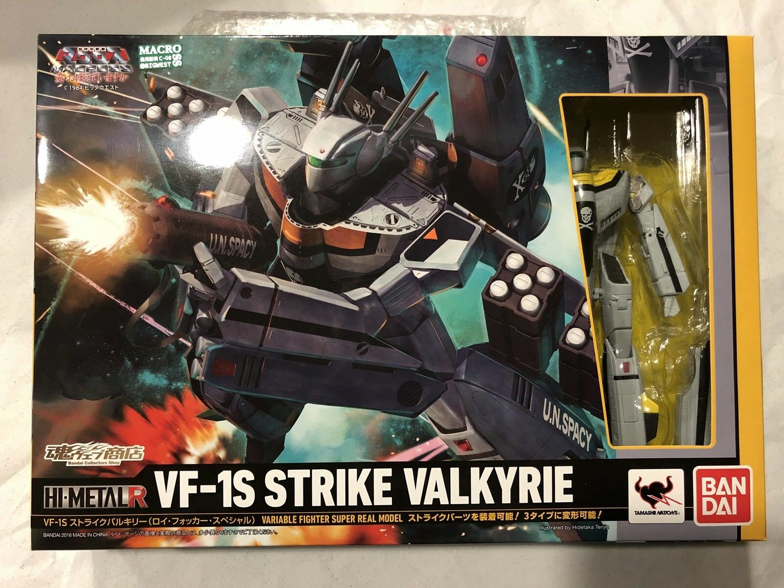 Macross Hi-metal R VF-1S Strike Valkyrie Roy Focker con soporte Dyrl