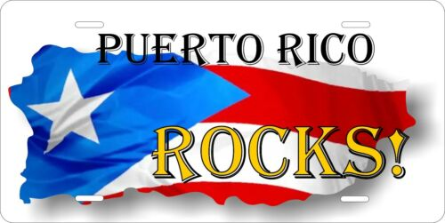 Puerto Rico Rocks License Plate Personalized Custom Auto Bike Motorcycle Moped
