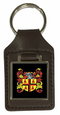 Wolfe Family Crest Surname Coat Of Arms Brown Leather Keyring Engraved