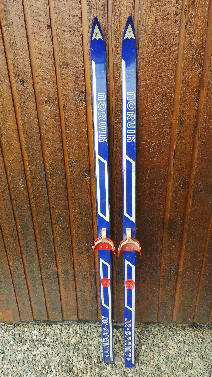 VINTAGE 69  Skis White bluee Finish with Bindings Signed NORUIK