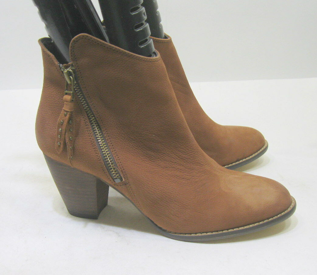 New Steve Madden Tan Leather 3  High Block Heel Ankle Sexy Boot Size 7