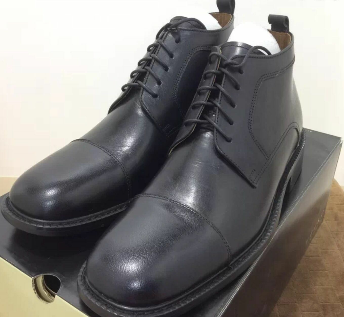 Mens Dress Boots Leather lace up Veeko Black 69.99 ea pr New in Box.