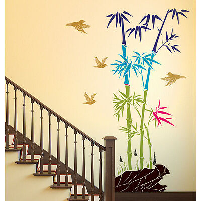 Wall Stickers Bamboo Trees Colorful with Rocks Birds Jungle Scenery