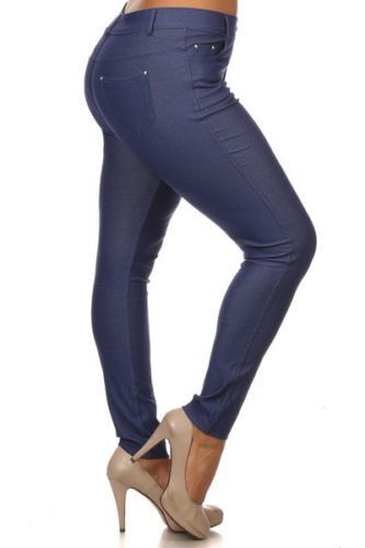Womens Basic Solid Cotton Blend Pencil Jeggings Soft-Skinny Stretch Pants