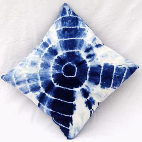 """Housse de Coussin en coton indien imprimé tie dye bleu shibori Oreillers cas 16x16/"""""""