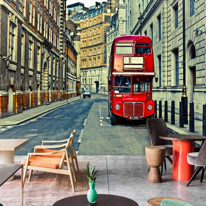 3D British street red WallPaper Murals Wall Print Decal Wall Deco AJ WALLPAPER