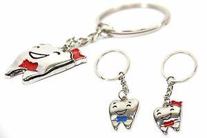 2 süße Zahn Schlüsselanhänger Zähne Mann & Frau Schlüssel Anhänger Mitgebsel Schlüsselanhänger Werbe-Schlüsselanhänger