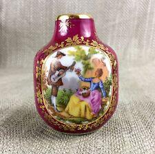 Limoges Porcelain Vase French Miniature Posy Bud Fragonard Claret Red Vintage