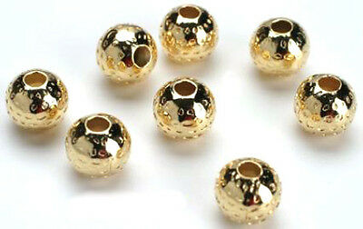 25 Stunning Gold Plated Round Dimple Beads 8mm