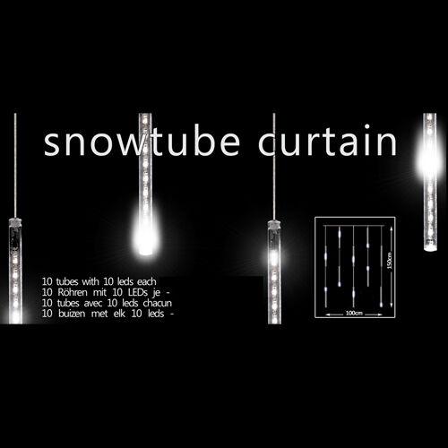 Snowtube Vorhang Snowfall LED Lichterkette Schneefall Effekt Röhren Eiszapfen