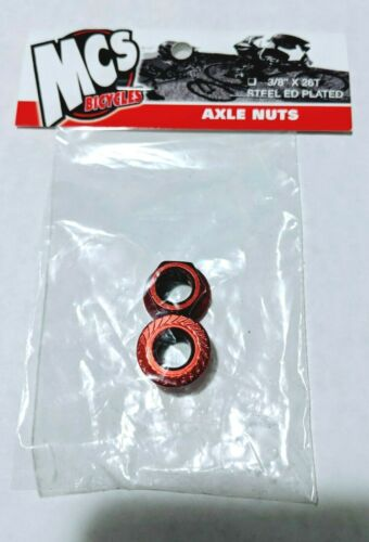 "MCS Steel Axle Nuts 3-8/"" Blue /& Red old school BMX Redline Haro GT Fixie Cruiser"