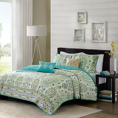BEAUTIFUL BLUE TEAL AQUA GREEN OCEAN EXOTIC YELLOW BROWN TROPICAL QUILT  SET NEW