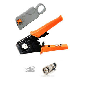 Kit Universal Coax Connector Compression Crimp Tool Bnc