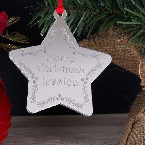 Personnalisé Prénom Miroir Arbre de Noël étoile décoration Babiole Cadeau