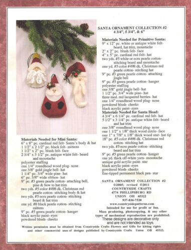 Campagne Crafts Santa Ornement Collection sewing pattern-Feutre Noël
