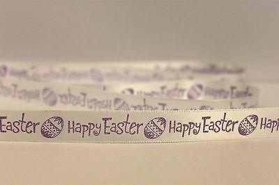 1 Quantity = 5 Metres White Satin /& Cream Grosgrain Easter Egg Ribbons