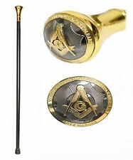 "Freemason's Walking Cane (36.25"") - Masonic Elegant Top Design - Gold and Black"
