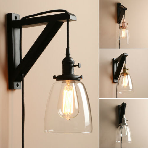 """5.6/"""" CLOCHE CLEAR GLASS VINTAGE INDUSTRIAL WALL LAMP SCONCE PLUG IN LIGHT DECOR"""