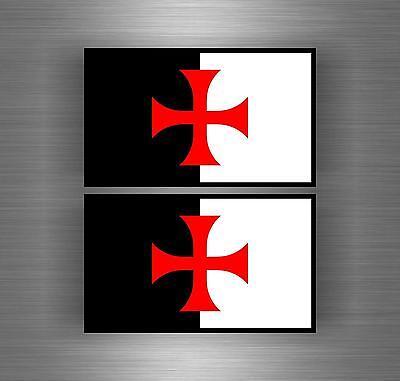 2x Autocollant sticker ordre malte templier drapeau croisades templar crussader