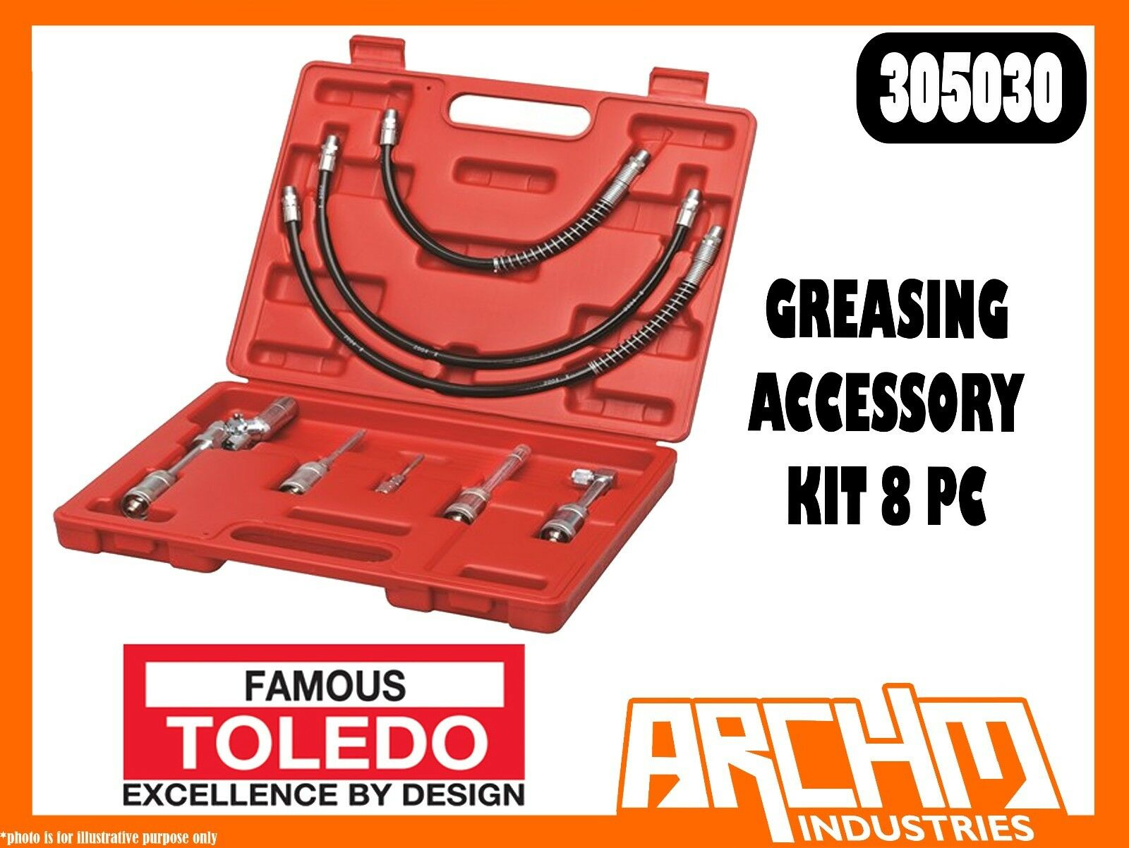 TOLEDO 305030 - GREASING ACCESSORY KIT - 8 PC - ADAPTORS LUBRICATION SERVICING