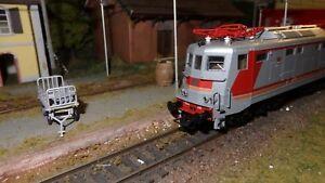 Rivarossi-HR2707-E424-350-MDVE-grigio-rosso-arancio-finestrini-d-origine-FS