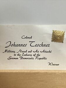 Military Pin, Colonel Johannes Teschner Military Naval Air Attaché Warsaw R02