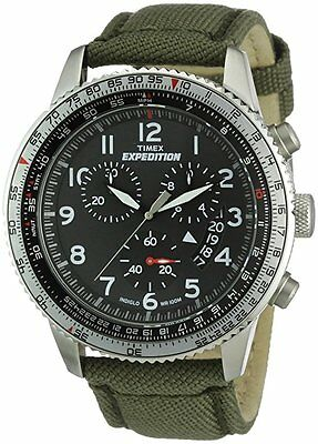 "Timex T49823, ""Expedition"" Green Nylon Watch, Indiglo, Chronograph, T498859J"