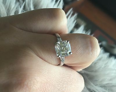 Silver Sterling Cubic Zirconia Asscher Cut Ring With Baguette Stones