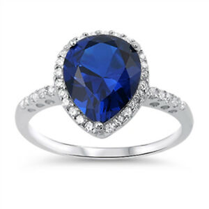 Blue-Sapphire-CZ-Pear-Teardrop-Solitaire-Ring-Sterling-Silver-Band-Sizes-5-10