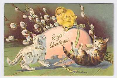 ANTIQUE POSTCARD EASTER FLOWERS EGGS KITTENS CHICK PUSSY WILLOW EMBOSSED EASTER