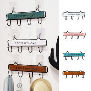 Storage-Rack-Hat-Hook-Wall-Mount-Key-Hanger-Wooden-Holder-Bedroom-Decoration