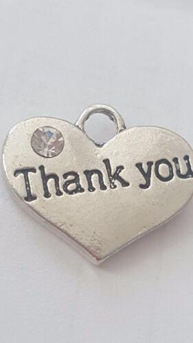 "1 OR 4 /""THANK YOU/"" TIBETAN SILVER RHINESTONE  HEART  WEDDING THEME CHARM"