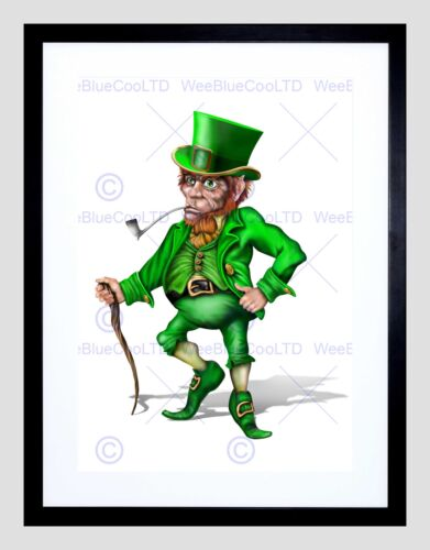 PAINTING CGI LEPRECHAUN IRISH MYTHOLOGY GREEN BLACK FRAMED ART PRINT B12X8327
