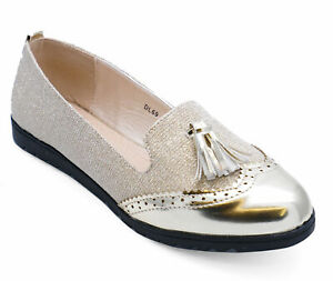Womens Flat Shoes Loafers size/'s 3-8 Black//Gold Loafers Ladies
