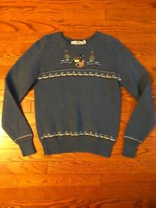 Vintage-SUSAN-BRISTOL-Embroidered-Blue-Wool-Crew-Sweater-Ducks-Womens-SMALL-38