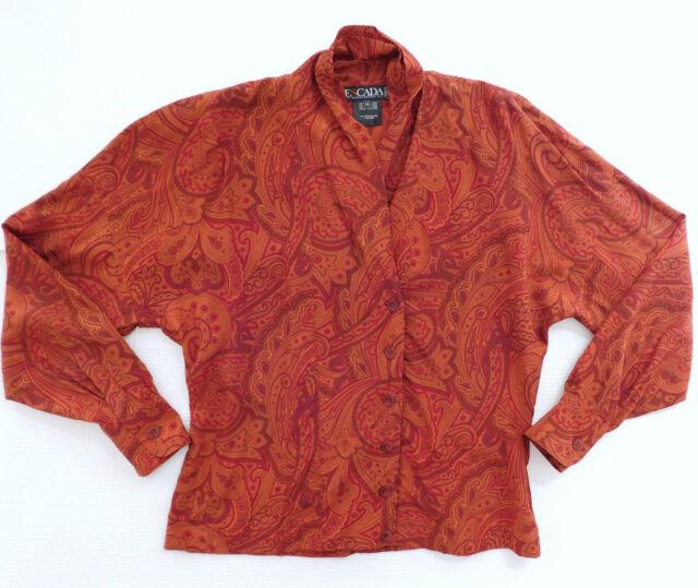 Escada Margaretha Ley silk blouse Paisley pattern 38 UK size 12/14 vintage 1980s