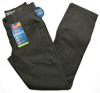 Wrangler Mens Pants Size 36 x 30 Fleece Lined Outdoor Straight fit Water Repellent UPF30 Lightweight Performance Grey