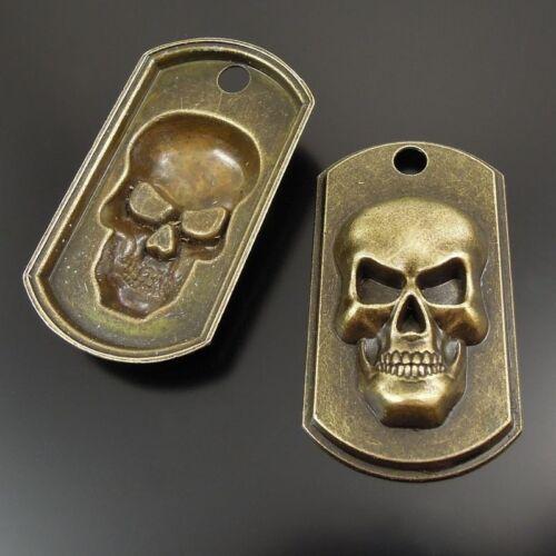 37419 Antique Bronze Tone Alloy Vivid Crâne plaques Charms Pendentif Finding 10pcs