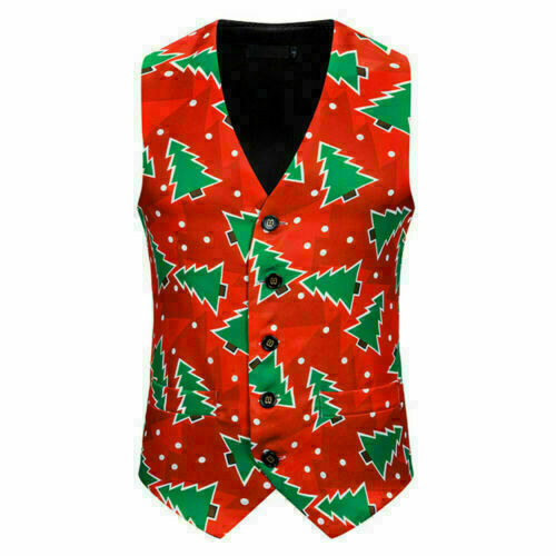 Mens Vintage Christmas Waistcoat Vest Slim Xmas Party Festive Fancy Jacket Coat