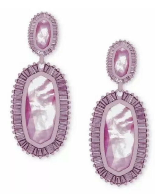 NWT - $195 Kendra Scott Kaki Matte Statement Earrings In Lilac Mother Of Pearl