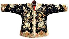 Incredible Antique Vintage Chinese Silk Robe Silver Embroidered Dragon Phoenix