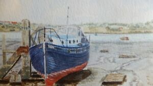 Original-Watercolour-Painting-of-boat-Suffolk-Wherstead-Orwell-bridge-signed